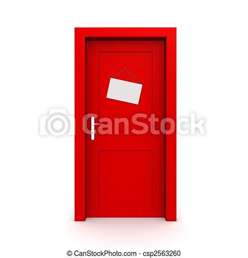 Puerta roja cerrada con signo de puerta - csp2563260