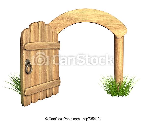 Puerta de madera abierta - csp7354194