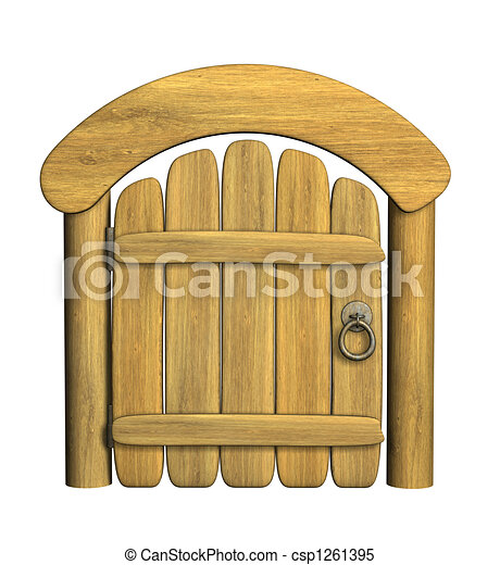 Puerta de madera cerrada - csp1261395