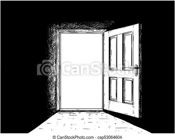 Vector de dibujos animados de puerta abierta de decisiones de madera - csp53064604