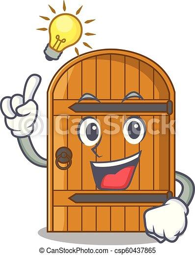 Tener una idea de puerta de madera vintage en dibujos de mascotas - csp60437865