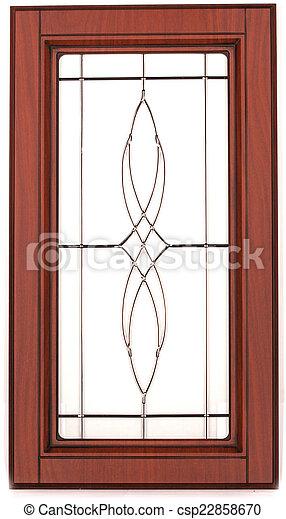 Puerta, elegante, de madera, aislado, wh, vidrio, gabinete ...