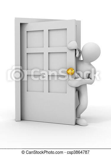 Gente entrando a la puerta - csp3864787