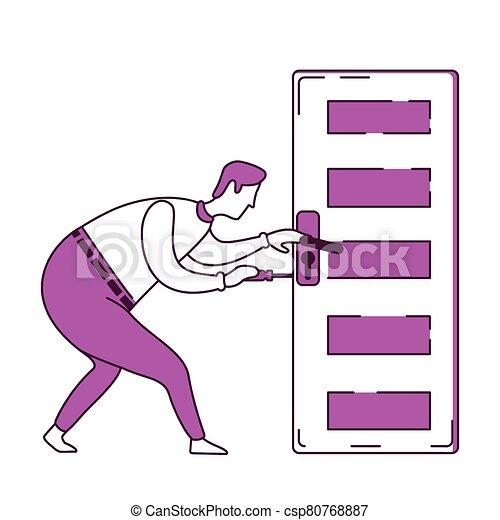 puerta, fijación, perilla, factótum - csp80768887
