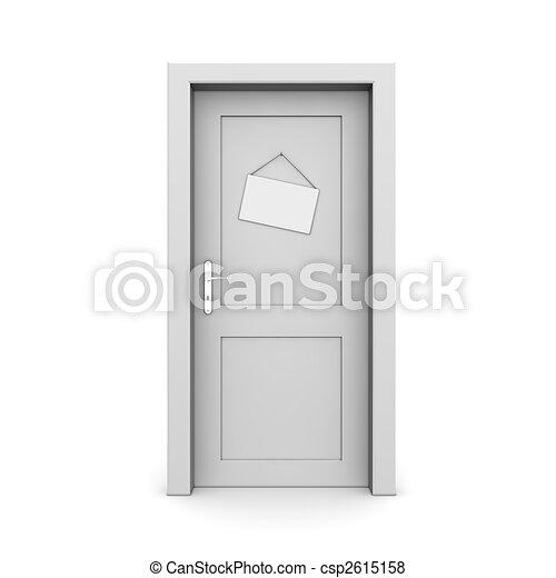 Puerta gris cerrada con signo de puerta - csp2615158