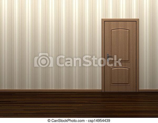 Cuarto vacío con puerta - csp14954439