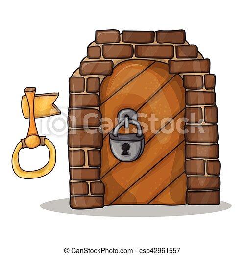 La llave y la puerta del castillo: dibujos animados de vectores - csp42961557