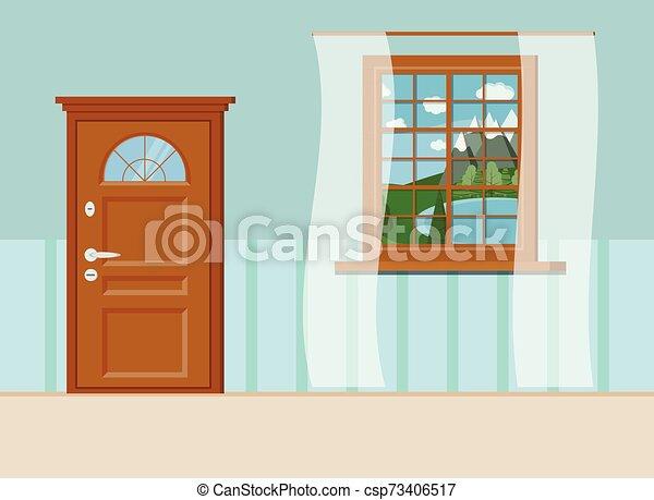 Madera cerrada puerta de entrada y ventana con vistas de verano al paisaje del lago - csp73406517