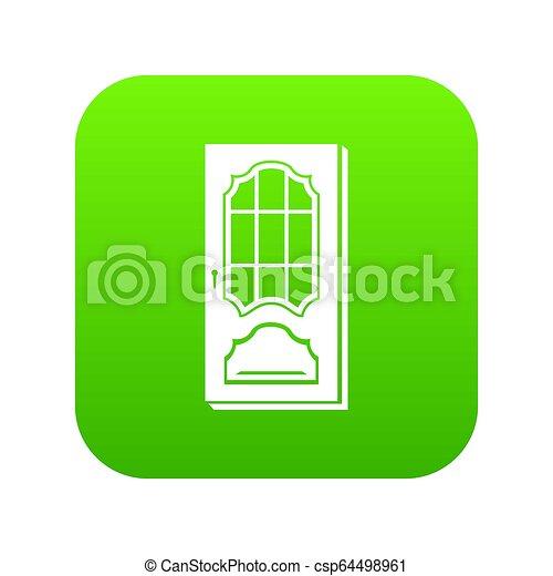 Puerta con icono de vidrio verde - csp64498961