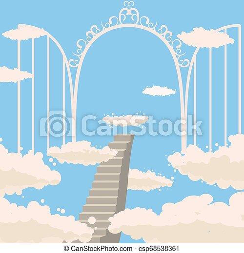 Camino, escaleras al cielo, puertas abiertas del cielo, cielo, nubes, cristianismo, vector, aislado, estilo de dibujos animados - csp68538361