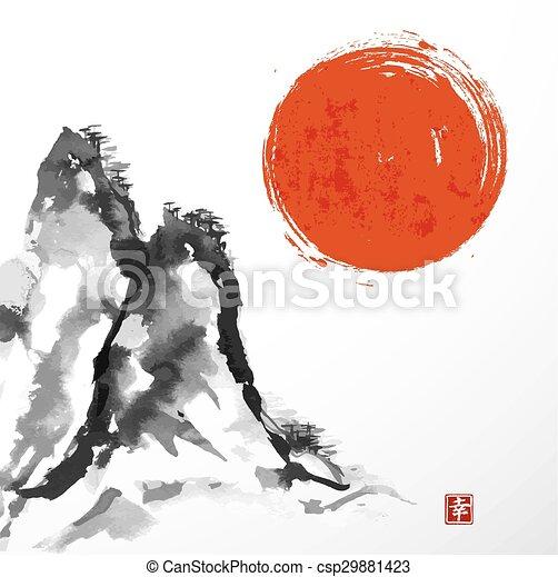 Puertas de Torii y montaña de Fujiyama - csp29881423