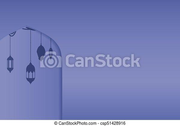 Ventanas de arco árabe y puertas, fondo vectorial - csp51428916