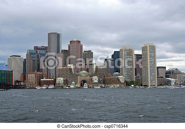 Línea aérea de Boston desde el puerto - csp0716344