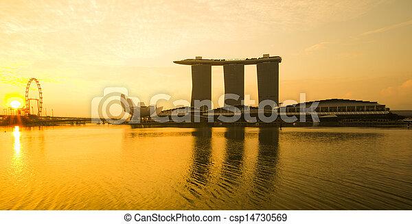puerto deportivo, bahía, vista, sunrise., singapur - csp14730569