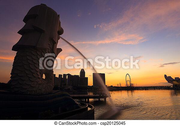 puerto deportivo, frente, fuente, merlion, bahía - csp20125045