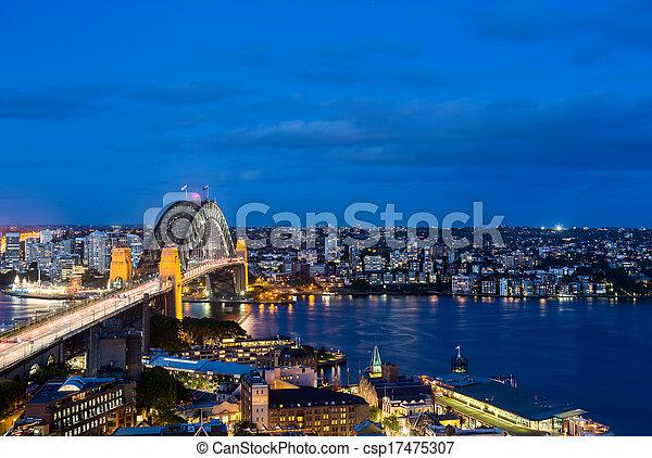 Foto panorámica dramática del puerto de Sydney - csp17475307