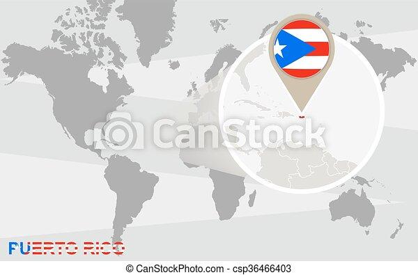 Puerto Rico Mapa Mundi.Mapa Mundial Con Magnificencia Puerto Rico Bandera De