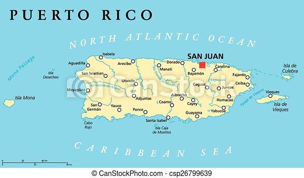 Puerto Rico Politische Karte Mit Hauptstadt San Juan Ein