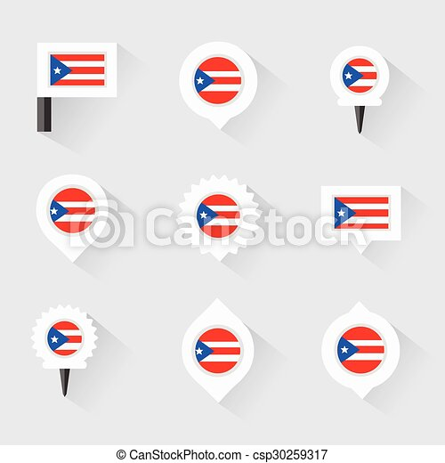 PUERTO RICO Flag And Pins For Infographic Map Design