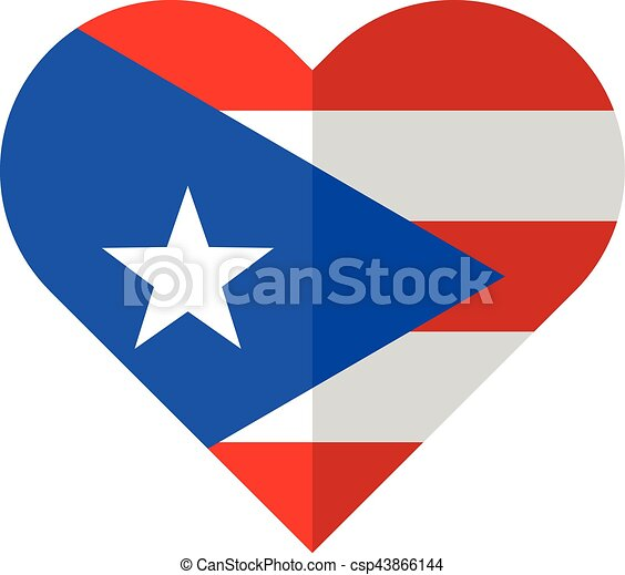 vector image of the puerto rico flat heart flag