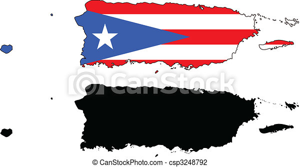 vector map and flag of puerto rico with white background vector rh canstockphoto com au