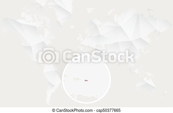 Puerto rico map with flag in contour on white polygonal world map ...