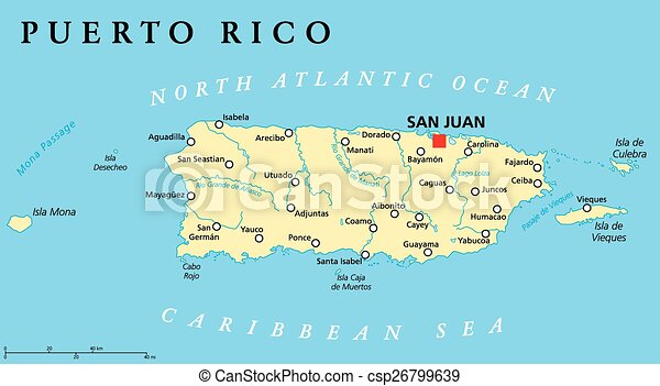 Vectors Of Puerto Rico Political Map With Capital San Juan A - Political map of puerto rico
