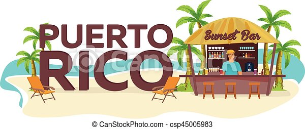 Puerto Rico Travel Palm Drink Summer Lounge Chair