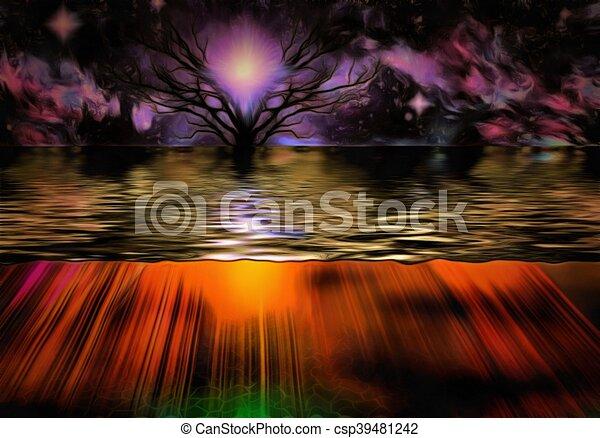 Púrpura puesta de sol - csp39481242