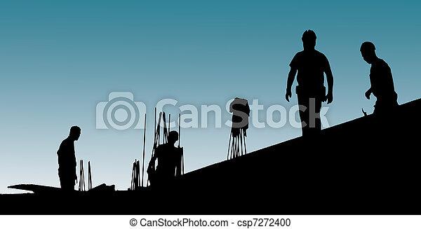 Los trabajadores de la construcción ponen trabajo de forma - csp7272400