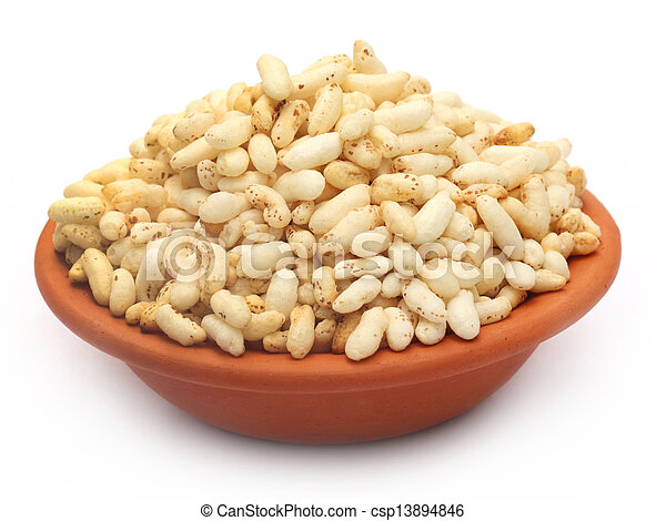 Puffed rice on a clay pot - csp13894846