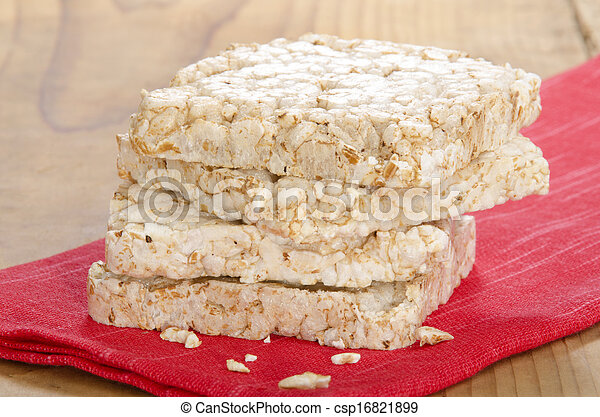 puffed rice on a red cloth - csp16821899