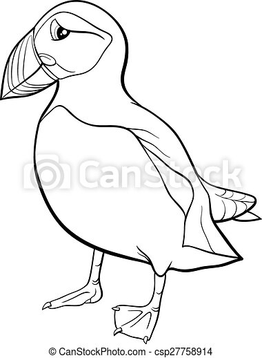 Puffin Cartoon Coloring Page Black And White Cartoon