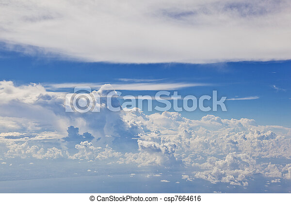puffy white cloud with blue sky - csp7664616