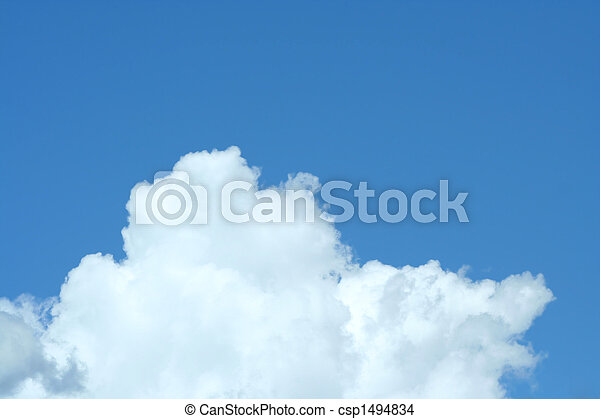 Puffy white cloud with blue sky - csp1494834