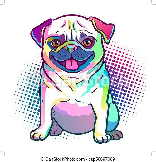 Pug dog pop art style illustration in bright neon rainbow ...