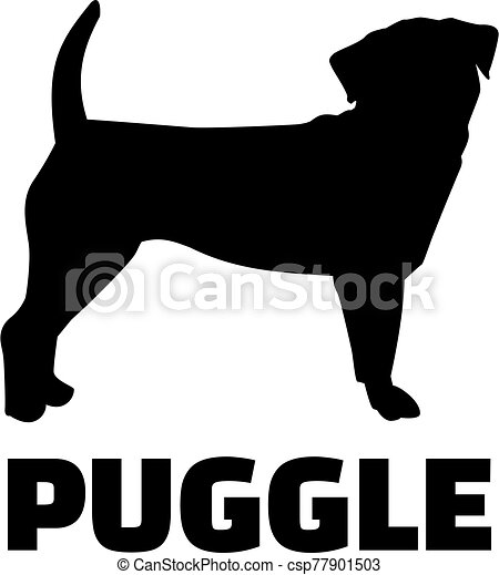 Puggle silhouette with name - csp77901503