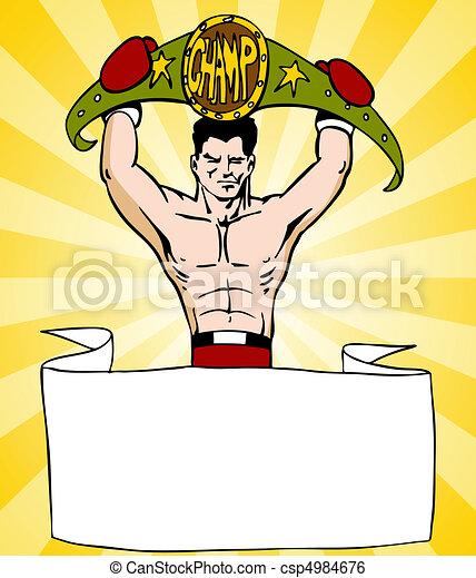 pugilista, campeão, sinal - csp4984676