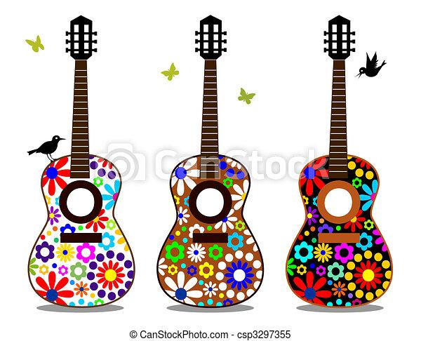 Fabulous Clipart Vecteur de puissance fleur, guitares - vecteur, entiers  UL41
