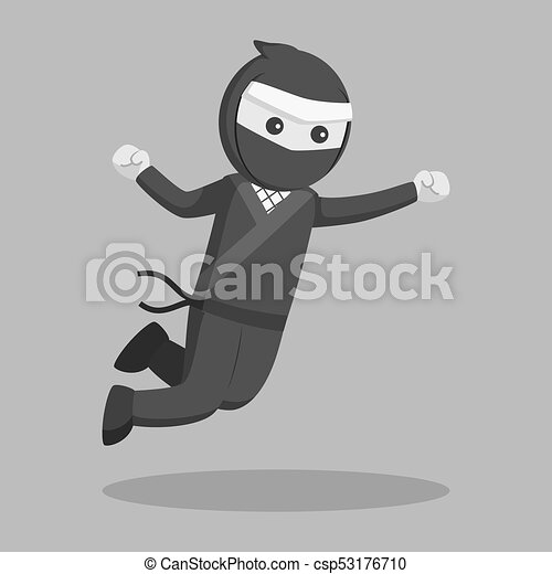 Pular Ataque Vetorial Desenho Ilustracao Ninja