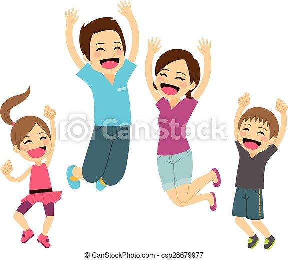 pular, família, feliz - csp28679977