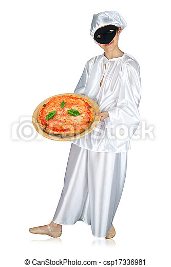 Pulcinella and pizza - csp17336981