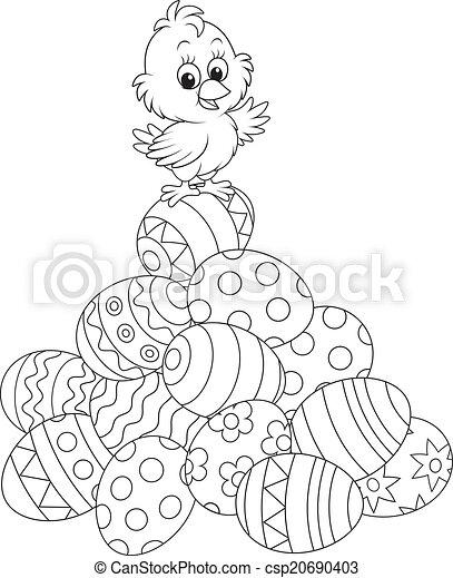 Pulcino Pasqua Poco Uova Contorno Dipinto Cima Illustrazione