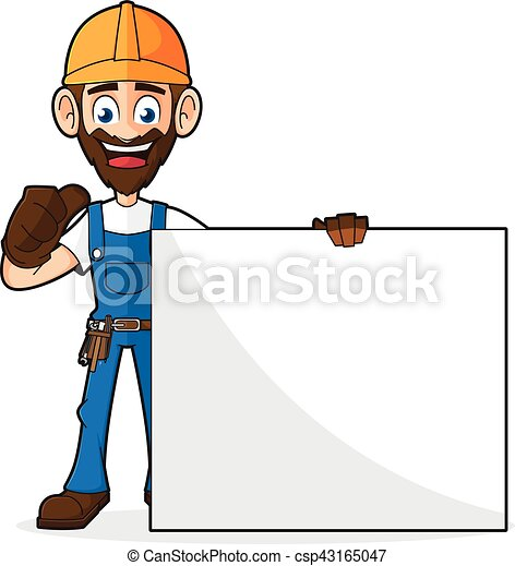 Handyman sosteniendo un cartel en blanco dando pulgar arriba - csp43165047