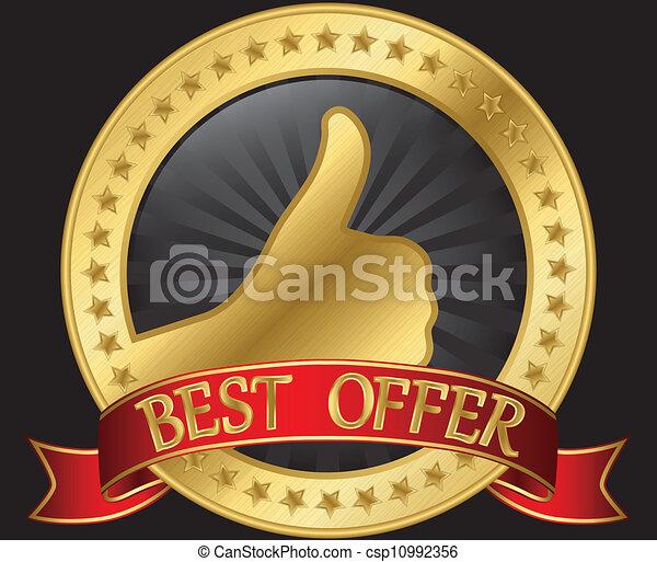 La mejor etiqueta de oferta con pulgar arriba en rojo - csp10992356