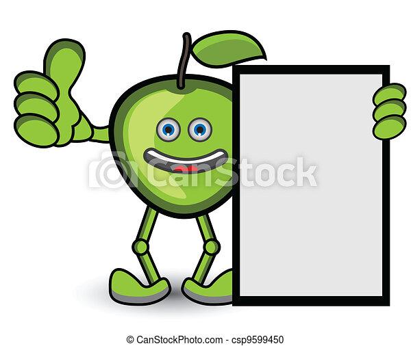 pulgar, postura, arriba, verde, bandera, manzana - csp9599450