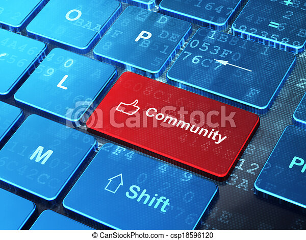 """El concepto de la red social: """"Thumb Up"""" y """"Comunity"""" en el fondo del teclado - csp18596120"""