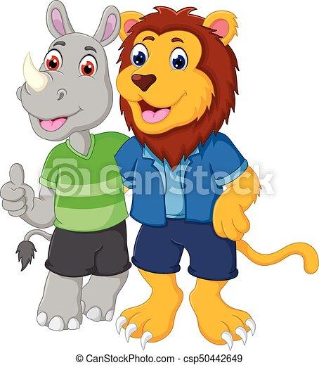 Pulgar Up Abrazar Rinoceronte León Amistad Caricatura Pulgar