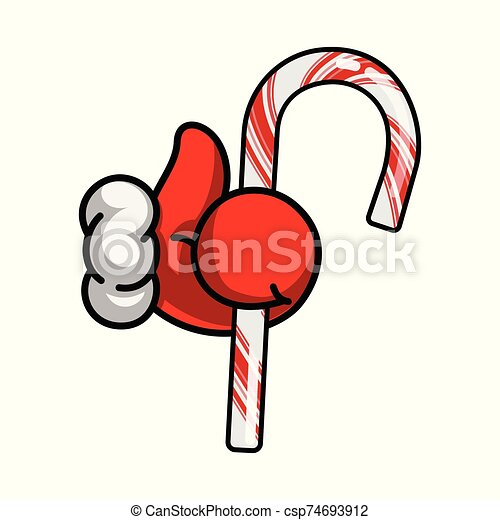 pulgares, símbolo, illustration., navidad., vector, bastón, como, nuevo, icono, santa, arriba, navidad, dulce, fiesta, claus, year., mano - csp74693912