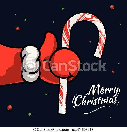 pulgares, símbolo, illustration., navidad., vector, bastón, como, nuevo, icono, santa, arriba, navidad, dulce, fiesta, claus, year., mano - csp74693913